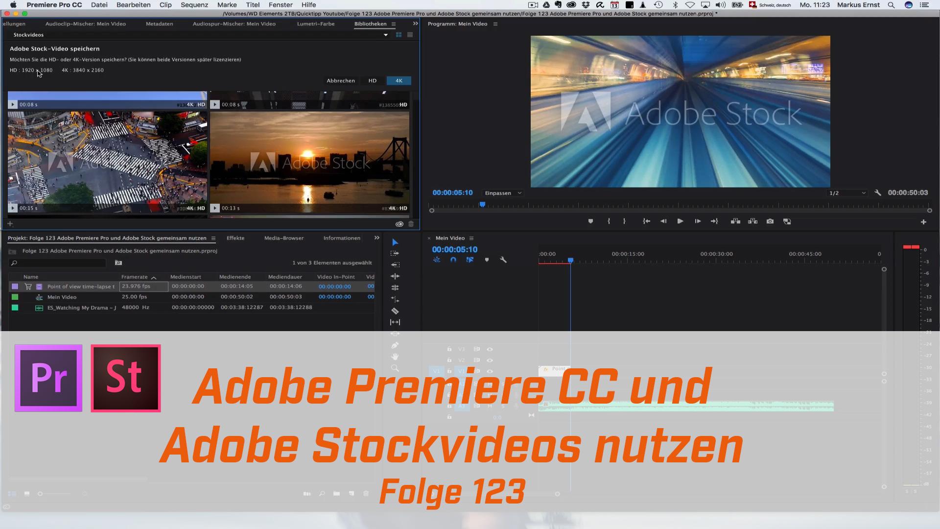 Adobe Premiere Pro und Adobe Stock gemeinsam nutzen