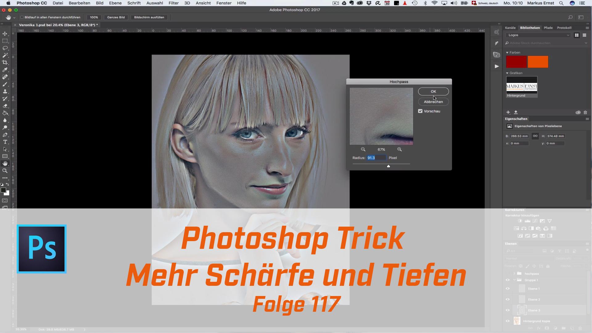 Photoshop Trick für Schärfe und Tiefen.