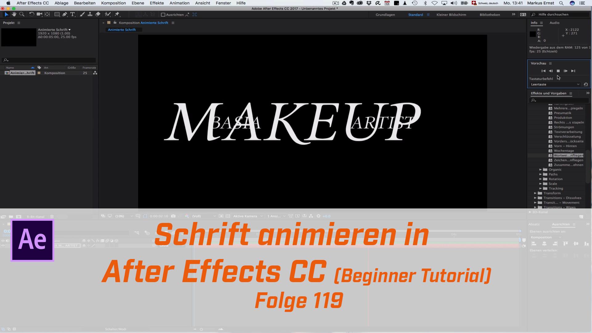 Schrift animieren im After Effects (Beginner Tutorial)
