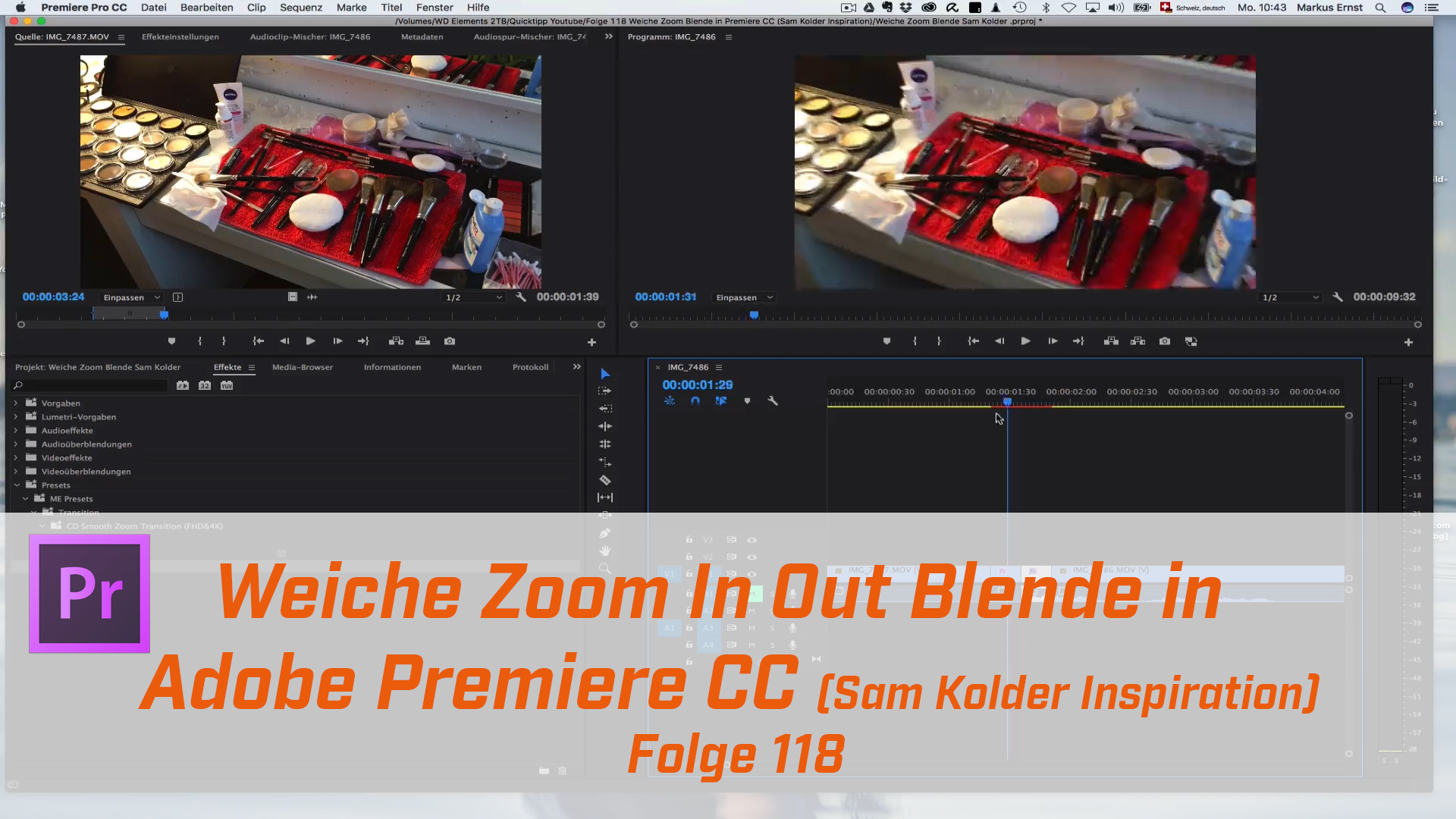 Weiche Zoom -In-Out Blende in Premiere CC