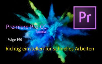 Premiere Pro Cc richtig einstellen für schnelles arbeiten